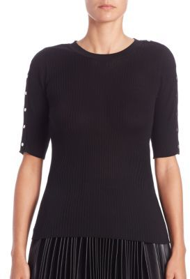 Alexander Wang Alexander Wang Ribbed Snap-Sleeve Top