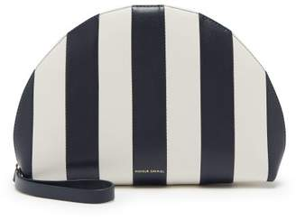 Mansur Gavriel Mini Moon Striped Leather Clutch - Womens - Navy White