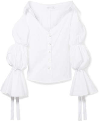 Caroline Constas Margaret Off-the-shoulder Cotton-blend Poplin Blouse - White