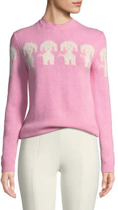Moncler Long-Sleeve Dog-Intarsia Pullover Sweater
