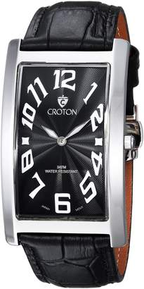 Croton Watches Men's 'Aristocrat' Quartz Stainless Steel and Leather Casual Watch, Color:Black (Model: CN307533BSBK)