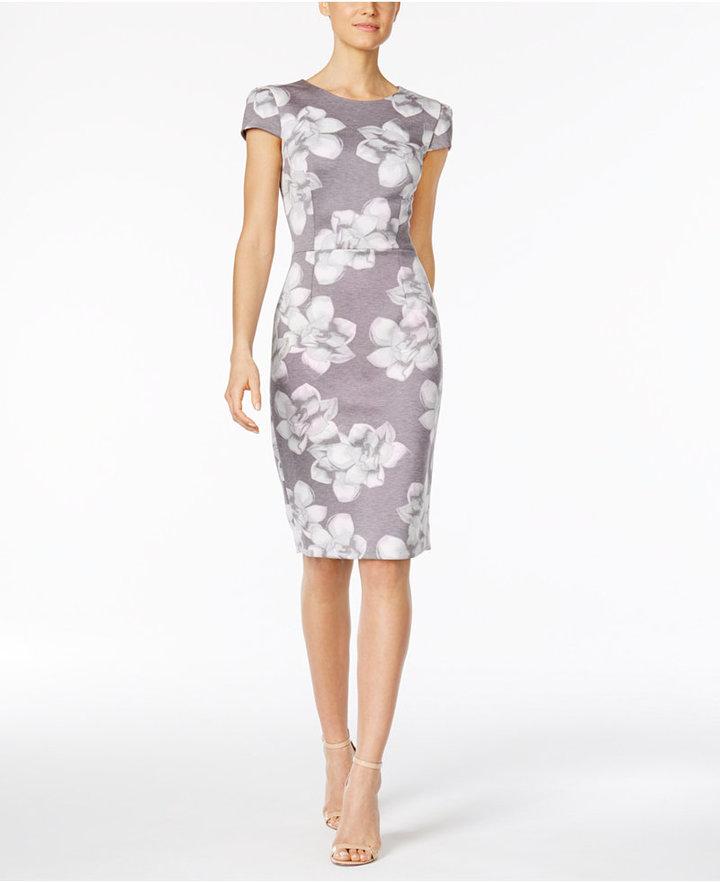 Betsey JohnsonBetsey Johnson Floral-Print Knit Midi Sheath Dress
