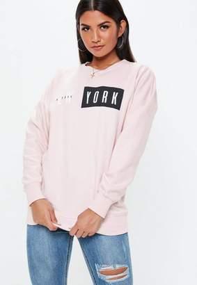 Missguided Pink New York Crew Neck Sweatshirt
