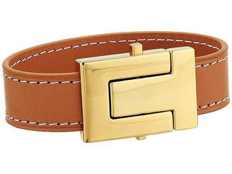 Tory Burch T-Logo Leather Single Wrap Bracelet