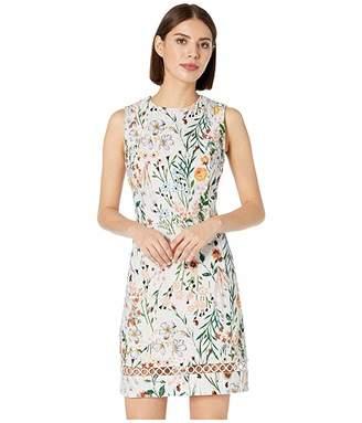 7d74bd5b Calvin Klein Floral Print Cotton Sheath Dress with Trim Detail