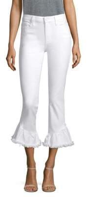 Paige Hoxton High-Rise Straight Ruffle Hem Jeans