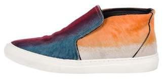 Pierre Hardy Pony-Hair High-Top Slip-On Sneakers