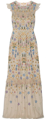 Needle & Thread - Flowerbed Ruffle-trimmed Embroidered Tulle Gown - Beige $700 thestylecure.com