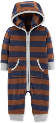 Carter's Baby Boys Striped Hooded Fleece Coverall