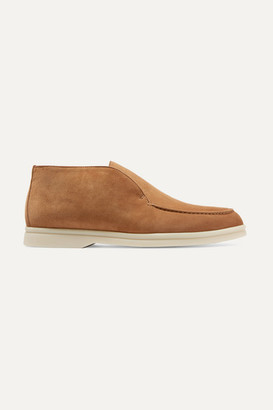 Loro Piana Open Walk Suede Loafers - Tan