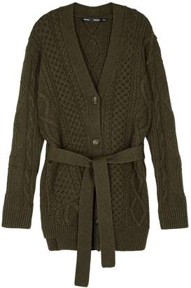 Proenza Schouler Army Green Cable-knit Wool Cardigan