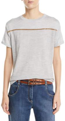 Brunello Cucinelli Cashmere Monili-Striped Short-Sleeve Sweater