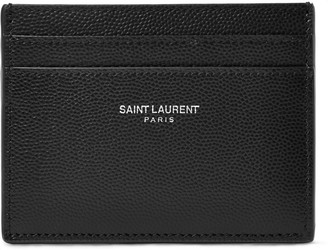Saint Laurent Pebble-Grain Leather Cardholder $225 thestylecure.com