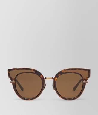 Bottega Veneta Sunglasses In Shiny Dark Havana Acetate, Solid Bronze Lenses