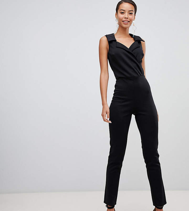 True Violet Tall wrap front jumpsuit