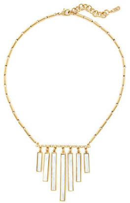 Cole Haan Park Avenue Mother of Pearl Frontal Fringe Necklace