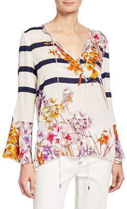 Elie Tahari Ulrika Striped Floral-Print Long-Sleeve Blouse