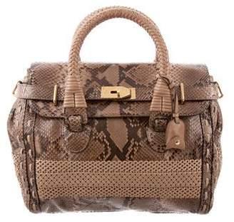Gucci Python and Woven Leather Handle Bag