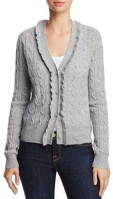 AQUA Cashmere Ruffled Cable-Knit Cashmere Cardigan - 100% Exclusive