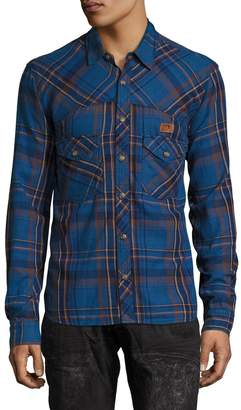 PRPS GOODS & CO. Men's Plaid 2-Pocket Cotton Sportshirt