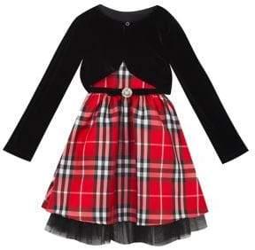 Rare Editions Girl's 2-Piece Woven Plaid Dress & Velvet Bolero Set