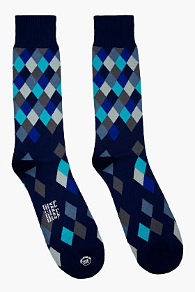 Paul Smith Navy Diamond Pattern Socks