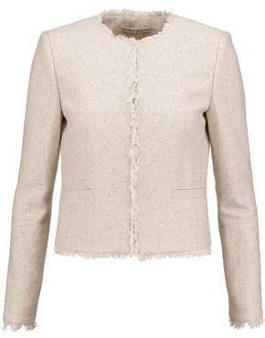Alice + Olivia Kidman Sequinned Frayed Cotton-Blend Jacket