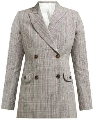 Joseph Moore Double Breasted Cotton Blend Check Blazer - Womens - Beige Multi