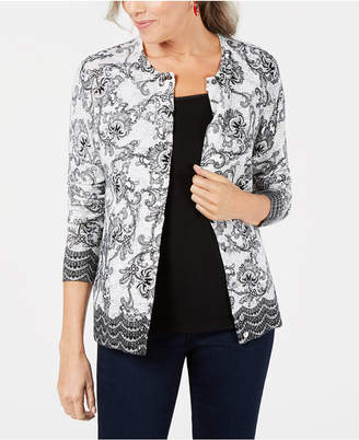 Karen Scott Petite Lace-Print Cardigan Sweater, Created for Macy's