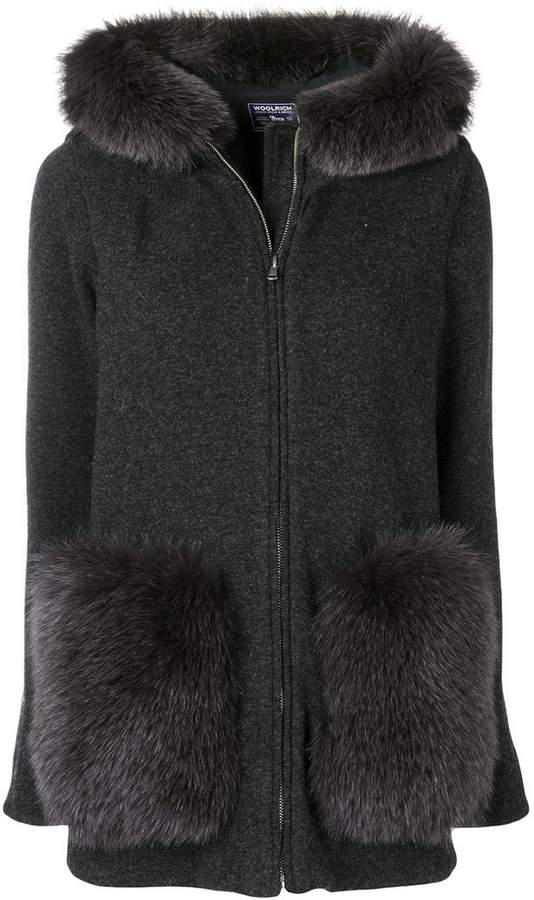 faux fur trim hooded coat
