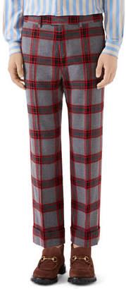 Gucci Men's Plaid Wool Trousers