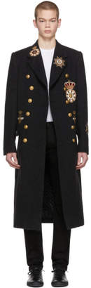 Dolce & Gabbana Grey Embellished Double-Breasted Coat