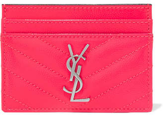 Saint Laurent Monogramme Quilted Neon Textured-leather Cardholder - Pink
