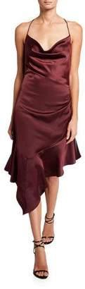 Parker Black Edyth Cowl-Neck Asymmetric Satin Midi Dress