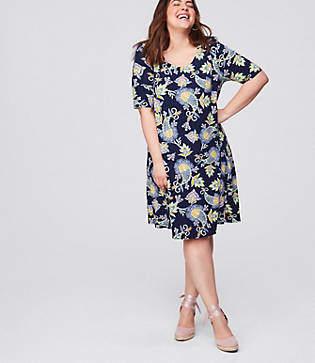 LOFT Plus Floral Paisley Short Sleeve Swing Dress