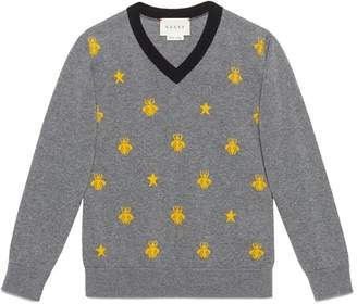 Gucci Kids Children's wool bees and stars sweater