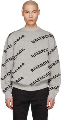 Balenciaga Grey and Black Jacquard Logo Crewneck Sweater