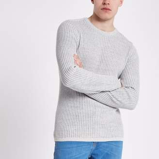 River Island Mens Grey rib muscle fit crew neck jumper