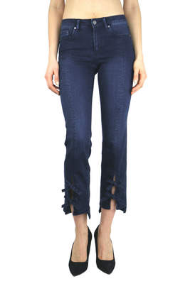 Tractr Front Slit Bow Tie Slim Leg Ankle Jean
