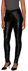 Dennis Basso Mixed Media Ponte and Faux LeatherLeggings