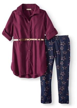 ONE STEP UP Belted Poplin Tunic Shirt & Printed Legging, 2-Piece Outfit Set (Little Girls & Big Girls)