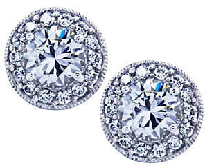 Diamonique Sterling Round Halo Stud Earrings