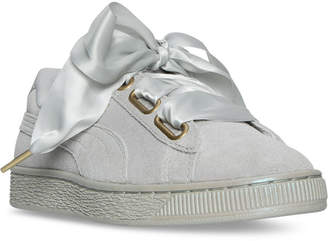 Puma Women's Suede Heart Satin Casual Sneakers from Finish Line $79.99 thestylecure.com