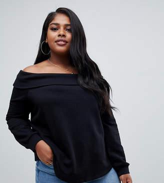 Asos DESIGN Curve off shoulder sweatshirt with foldover in black