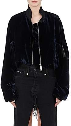 Taverniti So Ben Unravel Project Women's Velvet Crop Bomber Jacket