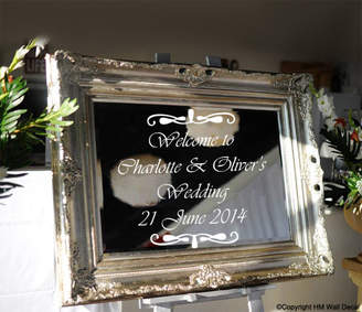 H&M Wall Decal Personalised Wedding Welcome Mirror Sticker