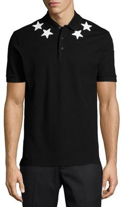 Givenchy Star-Print Knit Polo Shirt, Black $555 thestylecure.com
