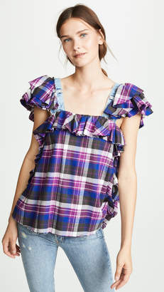 Natasha Zinko Plaid Frilled Top