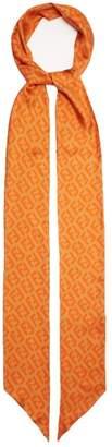 Fendi Ff Logo Print Silk Scarf - Womens - Orange