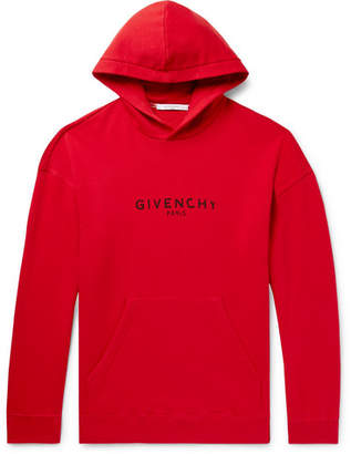 Givenchy Distressed Logo-Print Loopback Cotton-Jersey Hoodie